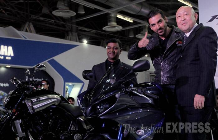 Biking enthusiast John Abraham was in Greater Noida on Friday (February 7) to attend the ongoing Auto Expo 2014 at India Expo Mart. (IE photo: Ravi Kanojia)