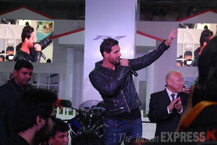 John Abraham waves to the audience as he addresses the crowd. (IE photo: Gajendra Yadav)