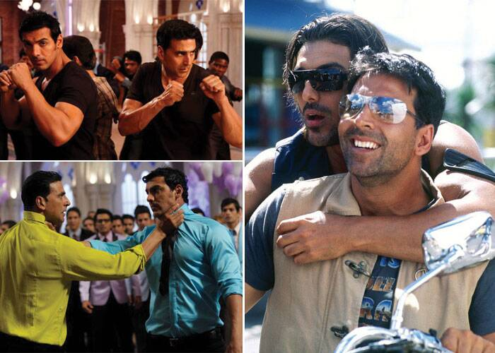 <b>Akshay Kumar-John Abraham</b>: The two macho actors have displayed strong brotherhood bonding in films like 'Garam Masala', 'Housefull' and 'Housefull 2'. In these films both the actors support each other through thick and thin. Akshay and John have made a comic bro-pair of Bollywood.