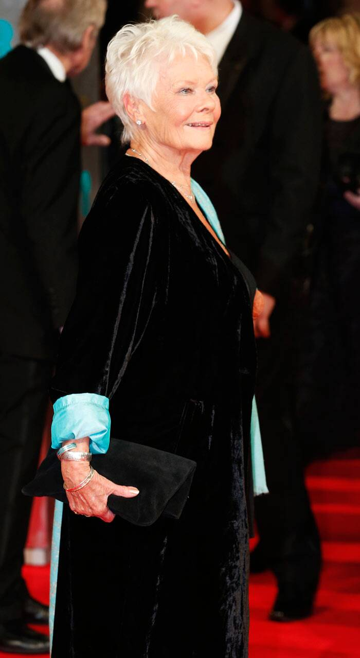Dame Judi Dench, nominated for her role in 'Philomena', looked lovely in black and blue velvet. The 79-year-old actress lost out to Blue Jasmine's Cate Blanchett. (AP)