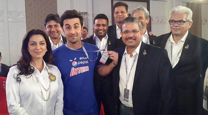 Ranbir Kapoor poses with KKR co-owner Juhi Chawla at the IPL auction. (Photo: Twitter)