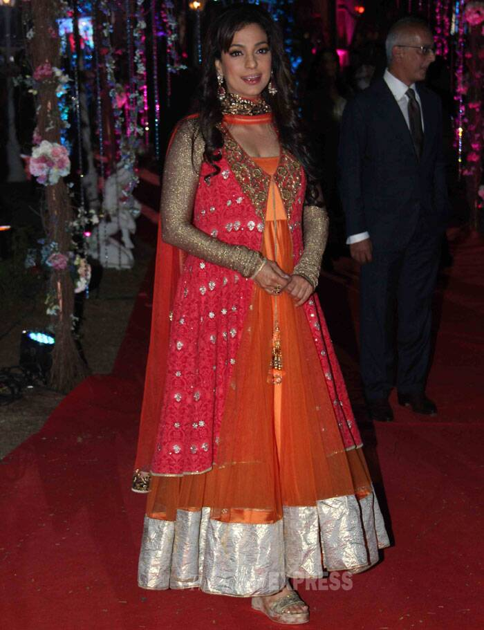 Actress Juhi Chawla was a pretty sight in a pink and orange anarkali with gold sleeves. (Photo: Varinder Chawla)