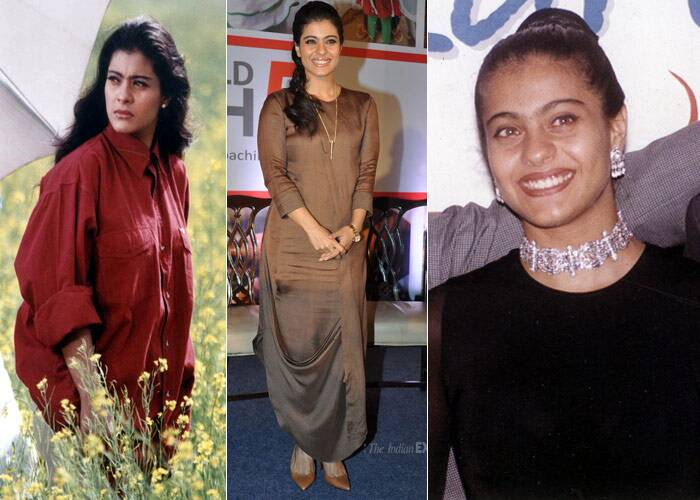 <b>Kajol</b>: Always seen as a bit of a tomboy in her younger days, Kajol was one of our most-loved actresses onscreen especially when paired with Shah Rukh Khan. She mostly preferred to wear desi creations back-in-the-day, however that did little to keep out the constant criticism that she actress received for her poor choice of wardrobe. But things have changed since her comeback, with Kajol having lost weight and being named as one of the most stylish onscreen moms today, seen both in western and Indian designer wear.