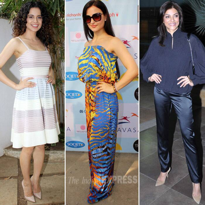 Bollywood actresses Kangana Ranaut, Suhmita Sen and Elli Avram put their best fashionable foot forward to woo fans as they went about with their separate events in Mumbai on Saturday (February 22). A look at the B-town diva's style file. (Photo: Varinder Chawla)