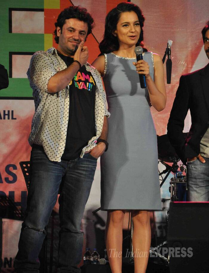 Kangana Ranaut on stage along with the film's director Vikas Bahl. (Photo: Varinder Chawla)