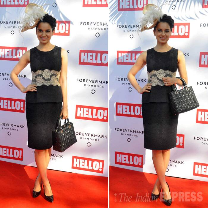 Kangana Ranaut, who will be seen in 'Queen' was chic in black Dolce & Gabbana top and skirt with a stylish fascinator. (Photo: Varinder Chawla)