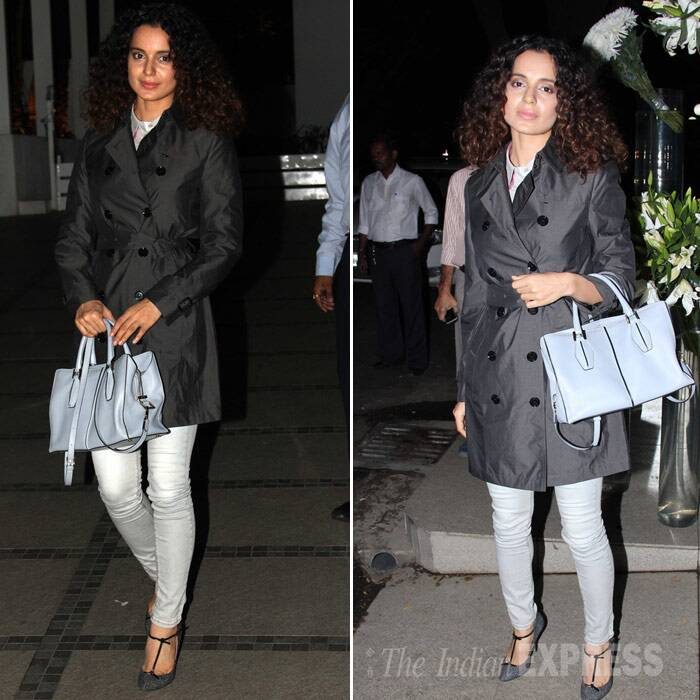 'Queen' actress Kangana Ranaut stole the show looking stylish in a Burberry trench coat over pale coloured denims and Gucci T-strap heels. She carried a Tod's tote to finish off her look. (Photo: Varinder Chawla)