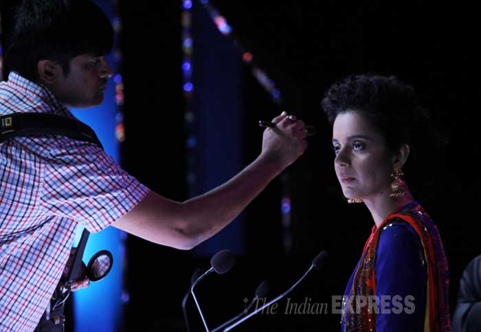 Kangana gets a few touches to her makeup on the sets of the show. (Photo: Varinder Chawla)