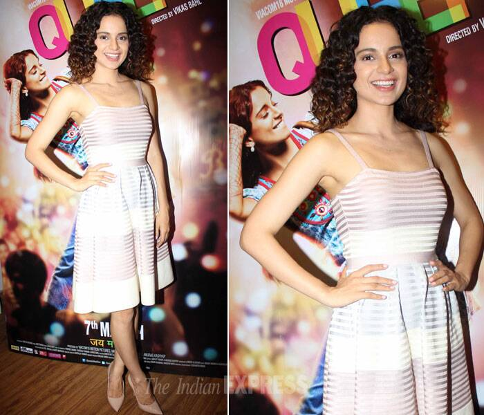 Kangana Ranaut, who is now joining the league of international fashion elites in picked up a ribbed flared dress. She finished off her look with minimal accessories and nude pumps. She  let her curls be natural for the event. We like. (Photo: Varinder Chawla)