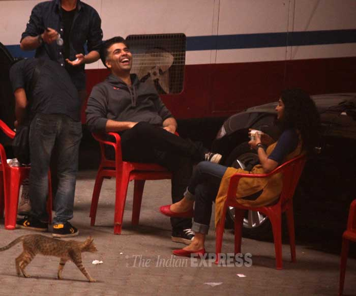 Karan Johar is definitely having a good time! (Photo: Varinder Chawla)