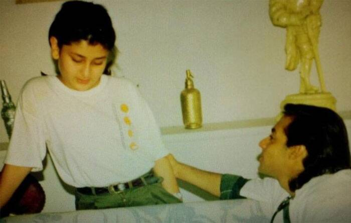Here is almost a decade old picture of the 'Bodyguard' pair, Salman Khan and Kareen Kapoor. Teenage Kareena Kapoor with a young lanky Salman Khan. This adorable picture was clicked when Kareena had accompanied her elder sister Karisma Kapoor on the movie sets.