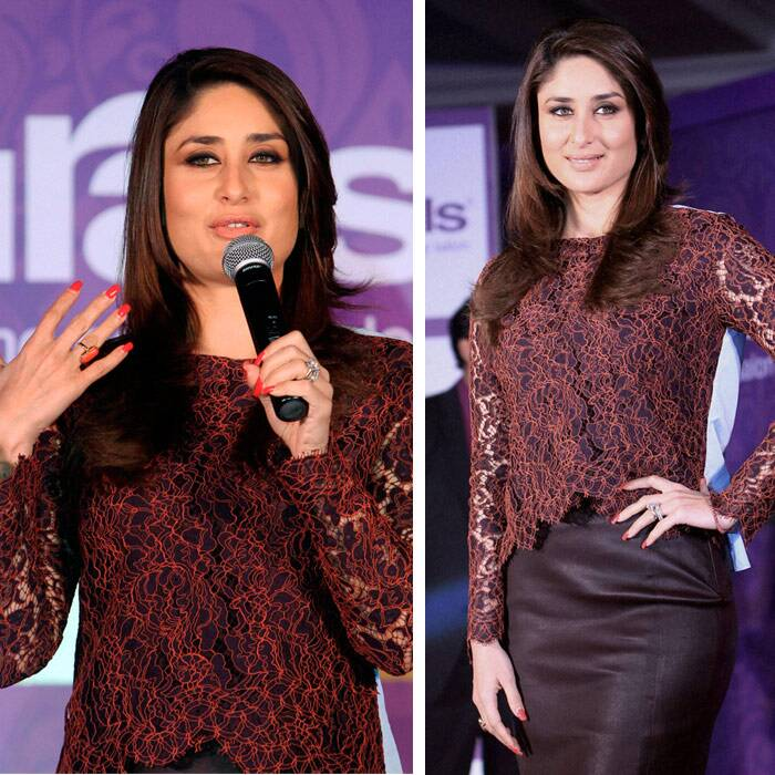 Kareena Kapoor, who was supposed to be a part of 'Shuddhi', was simple and stylish in a maroon lace top by Carven and a knee-length pencil skirt by DvF. (PTI)