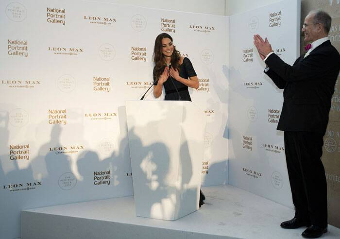Officially known as the Duchess of Cambridge, the former Kate Middleton gave a short speech before guests including movie star Elizabeth Hurley and rocker Bryan Adams. (AP)