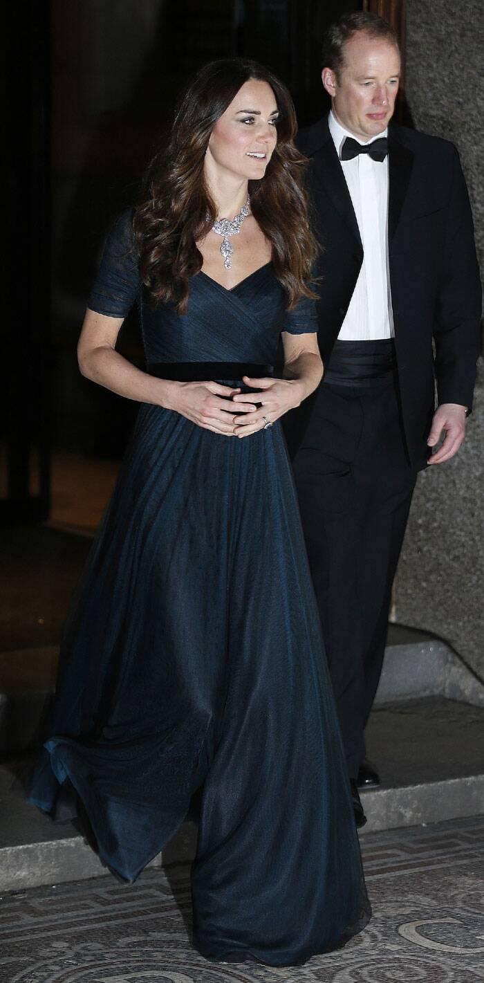 Kate Middleton dazzled onlookers at a dinner for London's National Portrait Gallery with a diamond necklace borrowed from the queen. (AP)