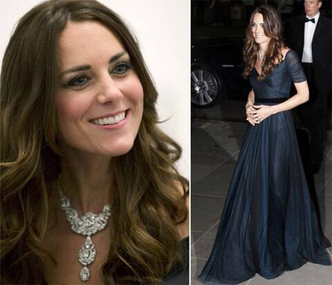 Prince William's wife Catherine dazzled onlookers at a dinner for London's National Portrait Gallery with a diamond necklace borrowed from the queen.