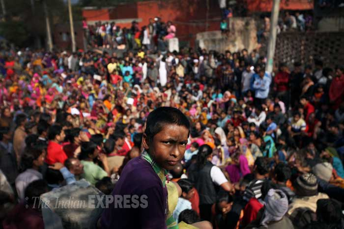 Around 2,800 people from the Kathputli Colony are to be shifted to a transit camp at Anand Parbat on Monday (February 24). According to reports, the process of on-spot verification was to start from February 24 and will be completed in two days. (IE Photo: Oinam Anand)