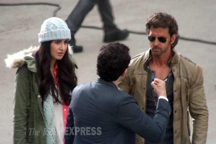 Hrithik and Katrina busy shooting for the film. (IE Photo: Lalit Kumar)