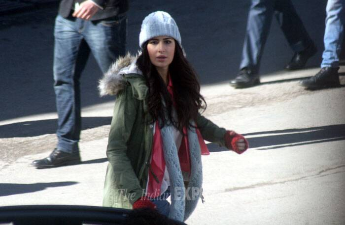 Bollywood actress Katrina Kaif has been spotted shooting in Shimla for her upcoming film 'bang Bang' with Bollywood heartthrob Hrithik Rohsan. (IE Photo: Lalit Kumar)