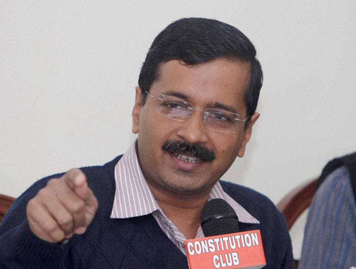 """I would like to contest elections, but it is upon the party to decide on this,"" Gandhi said, but refused to comment on his preferred constituency. <br /><br /> AAP chief Arvind Kejriwal adressing the press conference. (PTI)"