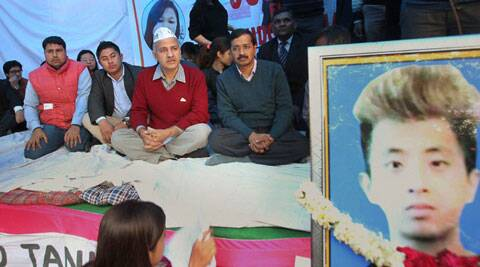 Delhi CM Arvind Kejriwal joined Northeast students in protest against Nido Taniam's death. (IE Photo)