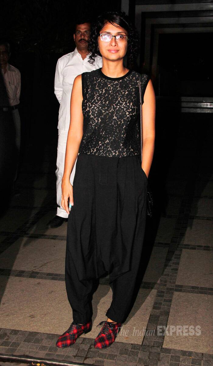 Aamir Khan's wife Kiran Rao made a solo appearance in all-black and eye-catching checked shoes. (Photo: Varinder Chawla)