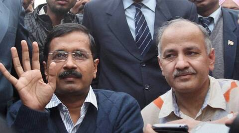 Delhi Chief Minister Arvind Kejriwal with Manish Sisodia. (PTI)