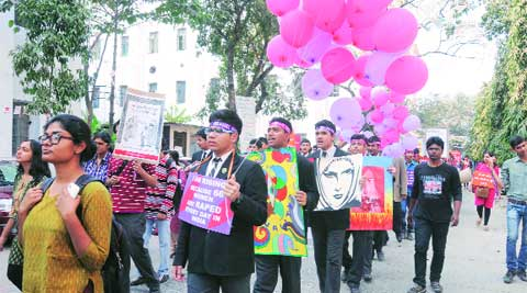Students at a rally organised to protest crimes against women, in South Kolkata Friday. Express