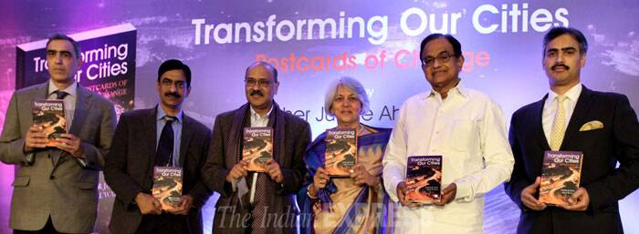"Indian cities are yet to get the attention they deserve despite their role as the growth engines of the economy, felt speakers at the launch of Isher Judge Ahluwalia's book ""Transforming our Cities, Postcards of Change"" on Monday. <br /> (L-R) Chief Editor and Publisher HarperCollins Krishan Chopra, HarperCollins CEO P M Sukumar, Indian Express Editor-in-Chief Shekhar Gupta, Author Isher Judge Ahluwalia, Finance Minister P Chidambram and GM Taj Mahal Delhi Satyajeet Krishnan at the book release in New Delhi. (IE Photo: Ravi Kanojia)"