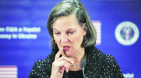 "In the leaked recording, Nuland is heard saying ""F*** the EU""."