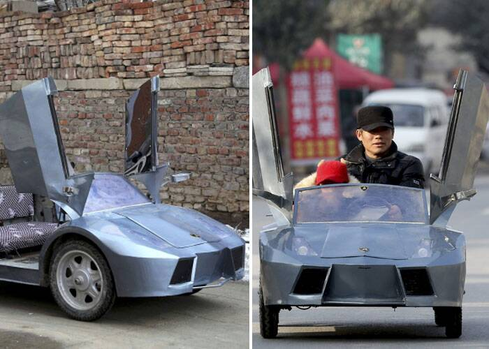"Guo (L), a farmer in his 50s, looks on as his grandson gets on a scaled replica of a Lamborghini made by Guo, on a street in Zhengzhou, Henan province February 19, 2014. Guo spent 6 months and about 5,000 yuan ($821 USD) to make the 2-meter-long, 1 meter-wide ""Lamborghini"" as a toy for his grandson. The replica, mainly made of scrapped metals and parts from electricity bicycles, bears five sets of batteries and can travel as far as 60 km (37 miles) when fully charged, local media reported. (Reuters)"