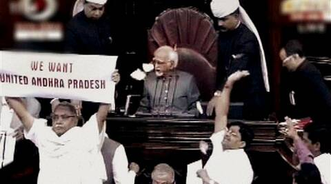 AP members protest for united Andhra Pradesh in the Rajya Sabha during the extended winter session in New Delhi on Tuesday. (PTI)