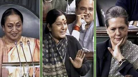 From left: Speaker Meira Kumari, BJP leader Sushma Swaraj, and Congress President Sonia Gandi