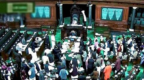 A scene of the Lok Sabha. (PTI)