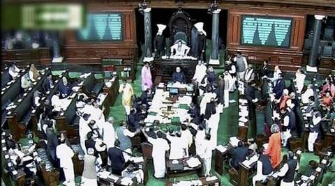 Lok Sabha proceedings were adjourned till 12 noon after the opposition staged protests with open umbrellas.