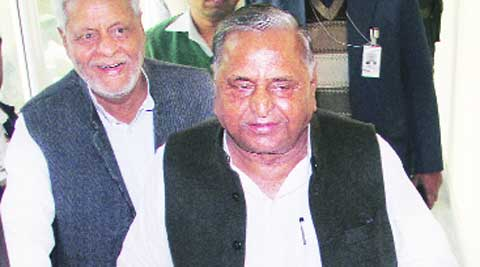 SP chief Mulayam Singh Yadav ahead of a press conference at the party office, in Lucknow on Friday. Vishal Srivastav