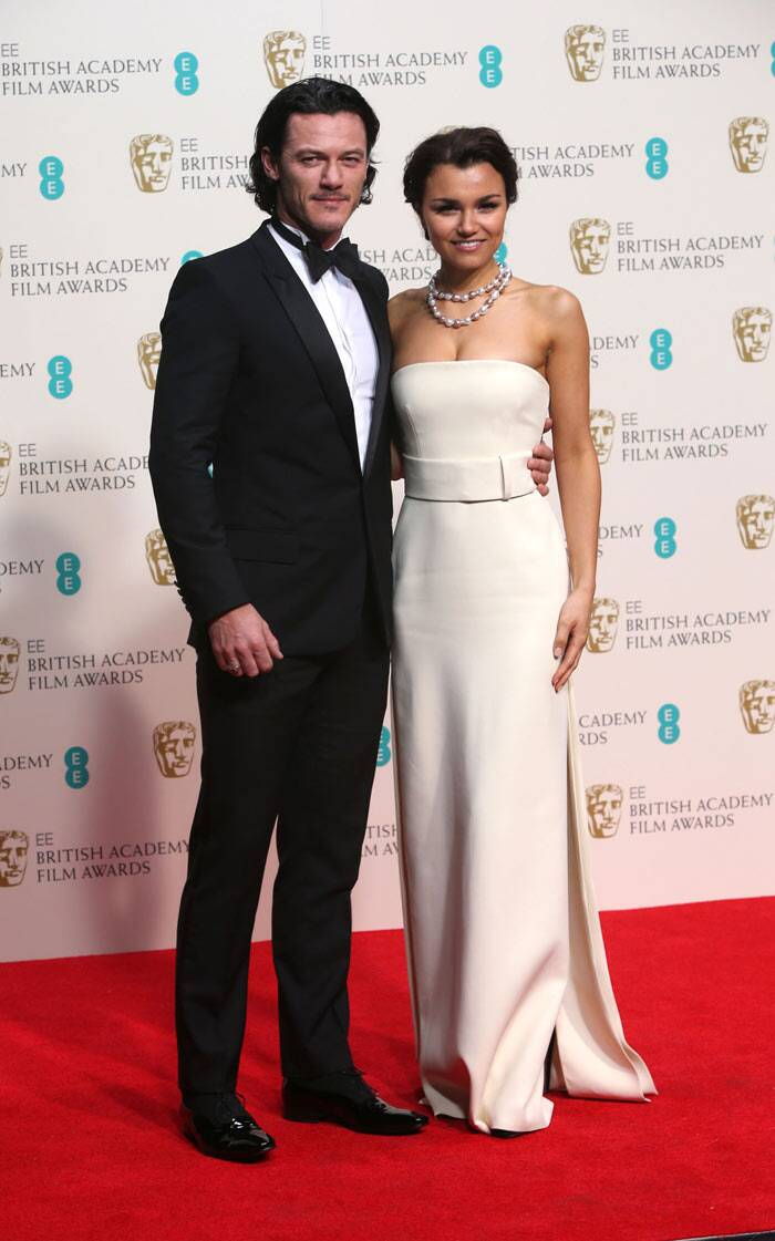 'Les Miserables' actress Samantha Barks was gorgeous in a nude coloured gown as she posed with actor Luke Evans.