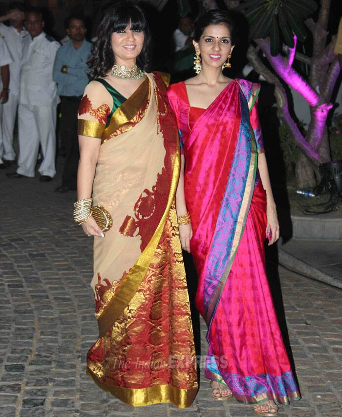 Mother and daughter designer duo, Neeta and Nishka Lulla were eyecatching in bright rich saris. (Photo: Varinder Chawla)