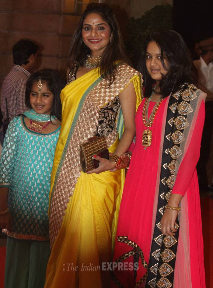 The 'Roja ' actress came with her daughters Ameyaa and Keia. (IE Photo: Dilip Kagda)