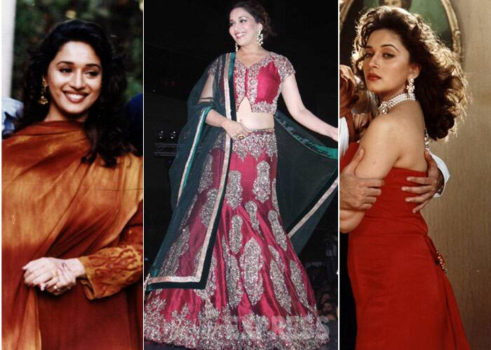<b>Madhuri Dixit</b>: Bollywood's dancing queen Madhuri Dixit has come a long way when it comes to fashion and style. Having always been one of the most beautiful women in the industry, Madhuri who recently made her comeback into films with 'Dedh Ishqiya' looks beautiful even today and has a had a whole lot of positive feedback for her lovely saris that she flaunts on 'Jhalak Dikhlaa Jaa'. However, we do wish she would change things up with her hair.