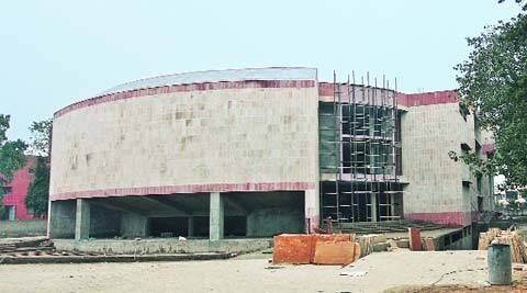 Construction of Mahila Bhawan underway in Sector 38, Chandigarh, on Sunday. (Jasbir Malhi)