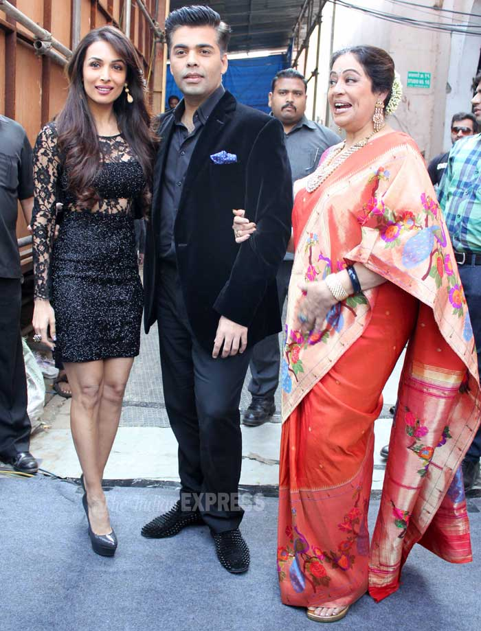 Malaika Arora Khan, Karan Johar and Kirron Kher strike a pose for the cameras. (Photo: Varinder Chawla)