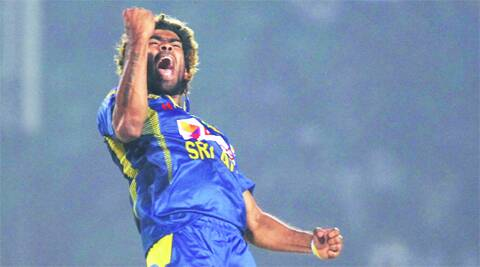 Malinga celebrates after dismissing Pakistan's Bilawal Bhatti during the opening match of the Asia Cup in Fatullah on Tuesday.