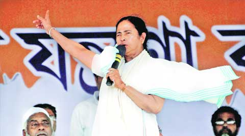 Chief Minister Mamata Banerjee addresses a public rally in Agartala on Tuesday. PTI