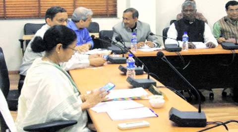 CM Mamata Banerjee during her first Cabinet meeting in north Bengal secretariat, in Siliguri, Tuesday. (Express)