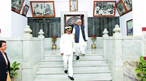 Speaker Mata Prasad Pandey after the Assembly session in Lucknow on Thursday. (Vishal Srivastav)