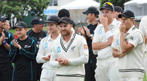 Brendon McCullum, center, celebrates with team members after their series win over India on the final day of the second Test at the Basin Reserve in Wellington (AP)
