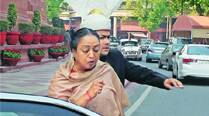 MEIRA KUMAR, Lok Sabha Speaker, ran out of the House immediately after Rajagopal sprayed. 	(Photos: anil sharma)