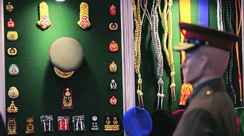 Military uniform, badges and caps designed by Kent Industries. (IE Photo: Oinam Anand)