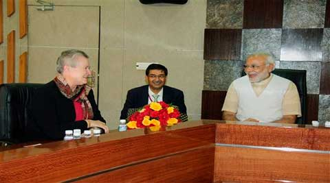 Gujarat Chief Minister Narendra Modi with US ambassador to India Nancy Powell during a meeting in Gandhinagar, on Thursday. (PTI)