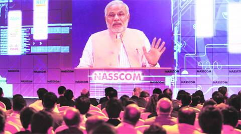 Narendra Modi addressed the 25th Nasscom leadership summit through a video link.